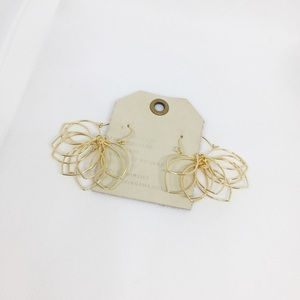 NWT Anthropologie Golden Floral Earrings